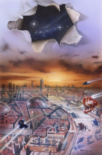 Gilles Francescano, illustration de couverture pour le Panorama de la science-fiction, éditions Claude Lefrancq, 1996.